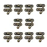 10 cerraduras RZDEAL de 27 x 32 mm para caja de madera envejecida con cerradura para el pecho, en tonos bronce