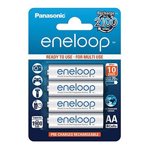 Panasonic eneloop, pile Ni-MH prête à l'emploi, AA Mignon, pack de 4, min. 1900 mAh, 2100 cycles de charge, aux performances élevées et avec une faible autodécharge, pile rechargeable