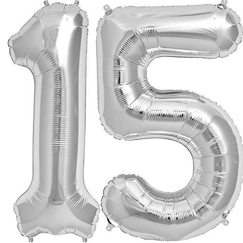 Tellpet Silver Number 15 Balloon, 40 Inch