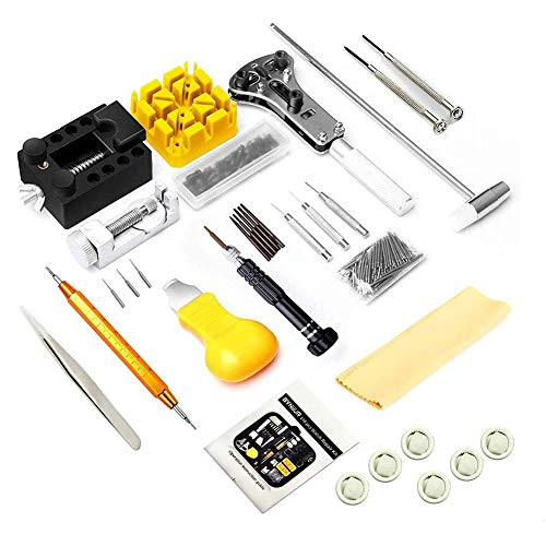 Herramienta de reparación de relojes, kit de reparación de relojes, multiherramienta profesional portátil, combinación de mesa de reparación de abridor de herramientas de reloj 155 X, soporte de caja