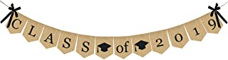 Burlap Class of 2019 Graduation Banner - No DIY Required | Rustic Vintage Graduation Decorations Sign for College Grad Party and High School Graduation Party Supplies 2019