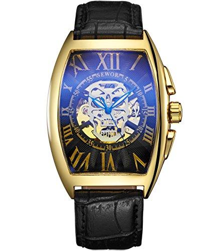 SEWOR Reloj de Pulsera mecánico automático, con Dibujo de Calavera, para Hombre, Correa de Piel, Revestimiento de Cristal Color Azul. (Oro Negro)