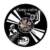 MRQXDP Divertido Decir Keep Calm I'm DJ Wall Art Reloj de Pared Mezclador de DJ Reproductor de Discos de Vinilo Giratorio Tocadiscos Reloj de Vinilo de Hip Hop 7 Color Light Lamp