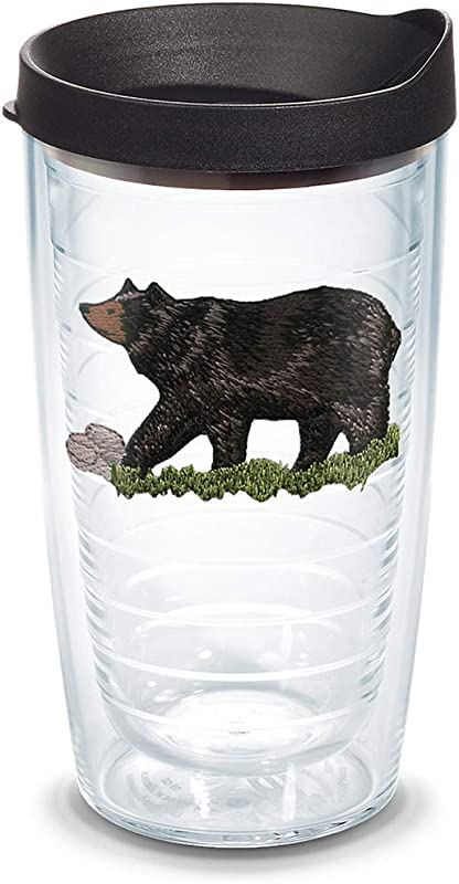 Tervis 1130209 Black Bear Tumbler With Emblem And Black Lid 16oz Clear