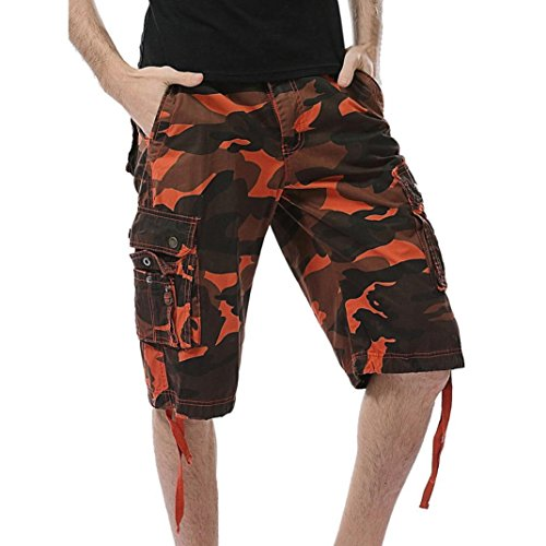 Ba Zha HEI Männer Casual Camouflage Tasche Strand Arbeit Kurze Hosen Cargo Shorts Pant Sport Fitness Hose Slim Fit Freizeithose Klassisch Basic Sporthose