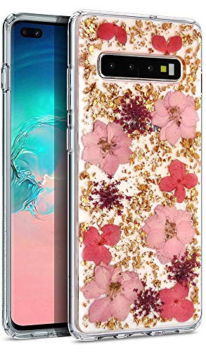 Aokebr Real Flowers Case for Samsung Galaxy S10 6.1' Pressed Dry Petals Glitter Bling Glitter Sparkle Thin TPU Soft Clear Flexible Rubber for Girl Women SamsungS10 GalaxyS10 (Pink)
