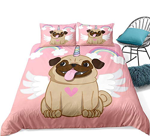 zpangg Rainbow Pug Juego de Cama Angel Funda nórdica Rosa para niñas Juego de Funda de edredón Perro de Dibujos Animados para niños Textiles para el hogar Dorpshipping