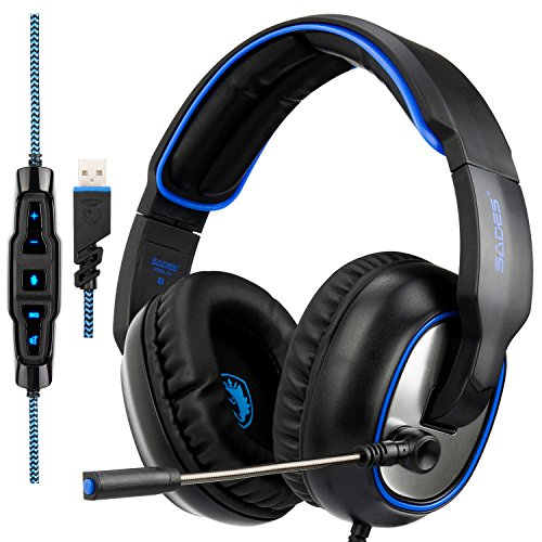 SADES R7 Gaming Headset, USB Headset Stereo Over-Ear Gaming Headphones Supports Virtual 7.1 Channel Surround Sound with Microphone EQ Bass Boost Button for PC Mac Categories