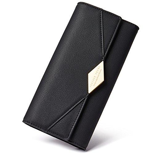 CLUCI Damen Geldbörse Weich Leder viele Kartenfächer Lang Portemonnaie Clutch Geldbeutel für Frauen mit Münzfach schwarz