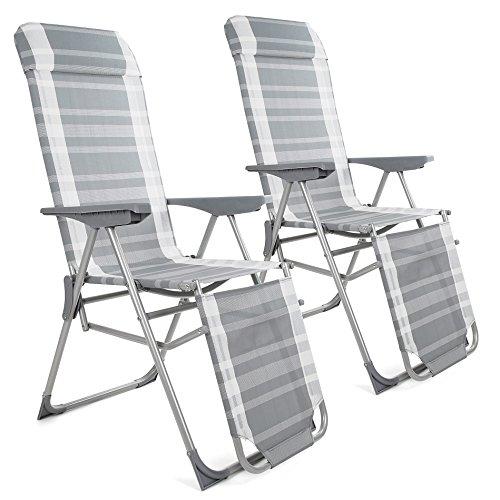 2 x Klappliegestuhl Türkis oder Grau mit Armlehnen Gartenliege Sonnenliege Klapp Liege Liegestuhl Klappstuhl (Grau)