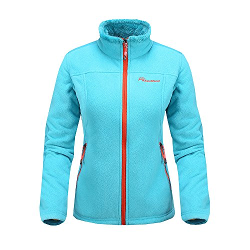 OutdoorMaster Women's Fleece Jacket - Waterproof & Stain Repellent, Ultra Soft Plush Lining & Optional Hoodie - Full-Zip (Blue,S)