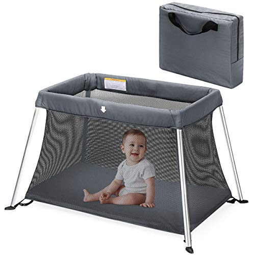 HEAO Travel Crib - Portable Light Playard, Soft Washable Mattress, Breathable Mesh Fabric with Carry Bag Grey