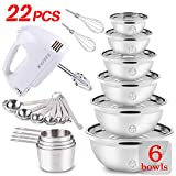 Electric Hand Mixer Mixing Bowls Set, Upgrade 5-Speeds Mixers with 6 Nesting Stainless Steel Mixing...