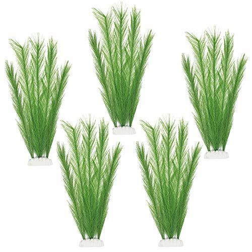 WEONE Fische Tank Plastikpflanzen für Aquarien, 5 Stück Aquarien Pflanzen Künstlich Set, Aquarien Ornamente für Aquarium Dekor