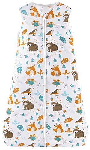 Chilsuessy Sommerschlafsack Baby Schlafsack Kleine Kinder Schlafanzug ohne Ärmel für Sommer und Frühling 100% Baumwolle (130/Baby Höhe 130-150cm, Waldtiere)