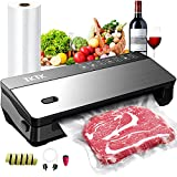 Vacuum Sealer Machine,TKTK 7 In 1 Food Sealer,Powerful Air Sealing System Machine,85 Kpa,Dry&Moist Modes,with Built-in Cutter, Paper Bag Storage,Gifts for Wife Mom,Black&Silver,15.3 inch