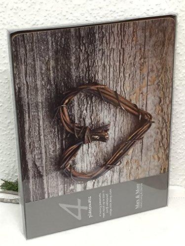 Kork Tischset Platzset Herz braun 4tlg. 40 x 30 cm