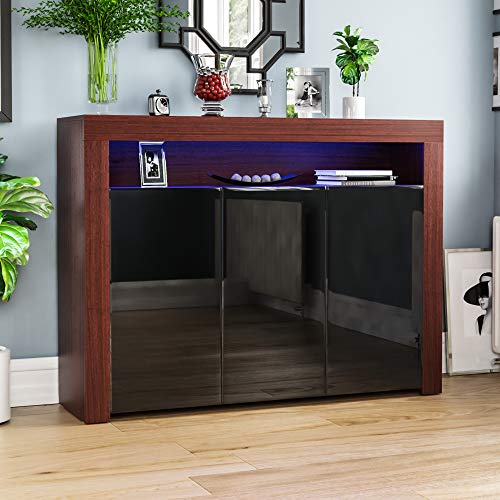 Vida Designs Nova-Aparador LED Moderno de 3 Puertas en Color Nogal y Negro, RGB (Opciones de luz estroboscópica Incluidas), Estilo Mate de Madera con características de Alto Brillo, 3 Door