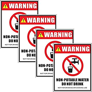 """Outdoor/Indoor (4 Pack) 5"""" X 4"""" - Non-Potable Water Do Not Drink, Not for Drinking Or Cooking Use - Safety Danger Notice Caution Warning Sign Label Decal Sticker - Back Self Adhesive Vinyl"""
