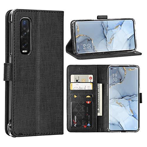 FUNMAX+ Oppo Find X2 Neo 5G Hülle, PU Leder Handyhülle mit 3 Kartenfächer, Schutzhülle Hülle Tasche Magnetverschluss Flip Cover Stoßfest für Find X2 Neo (Schwarz)
