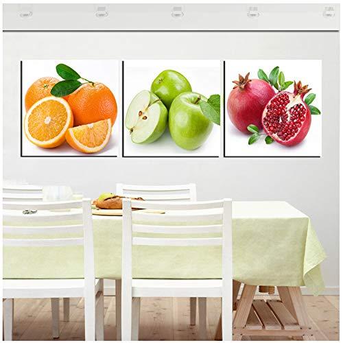 Bzdmly Cuadros de Arte en Lienzo Fruta Cocina Comedor Pared Cuadros Decorativos Manzana Naranja Granada Impresión Moderna Pintura al óleo 3 Panel -50x50cm Sin Marco