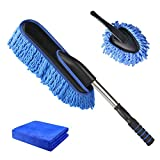 Brynnl Car Duster Brushes Set, Extendable Handle Interior Exterior Multipurpose Cleaning Car Brush Effortlessly Removes Dust Lint Free-No-Scratch Dusting Remove Tool(Blue)