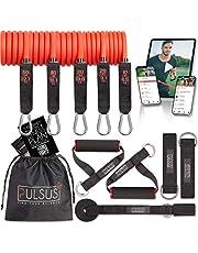 Fitnessband weerstandsbanden set met oefenvideo app - Pro Expander bandenset: 5 weerstandsbanden, handgrepen, voetlussen, deuranker & draagtas | sportbanden