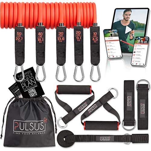 PULSUS fit Fitnessband Resistance Bands Set mit Übungsvideo App - Pro Expander Bänderset: 5...