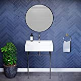 Swiss Madison Well Made Forever Claire 24' Ceramic Console Sink White Basin Chrome Legs, White/Chrome...