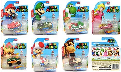 Hot Wheels 2017 Set of 7 Super Mario 1/64 Character Cars Collectible Die Cast Toy Car Models