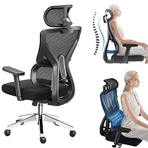 BABYNEED bürostuhl ergonomisch Drehstuhl, Computerstuhl für sitzende Tätigkeiten, Swivel Gaming Chair Lift Lumbar Chair, Schreibtischer Stuhl mit Fußstütze und Lendenwirbelstütze,A1