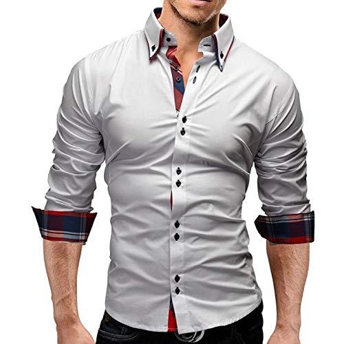 Camisa de Cuello Vuelto para Hombre con Costuras Camisa de Manga Larga Informal con Botones y Botones Ajustados Lisos para Todas Las Estaciones XX-Large