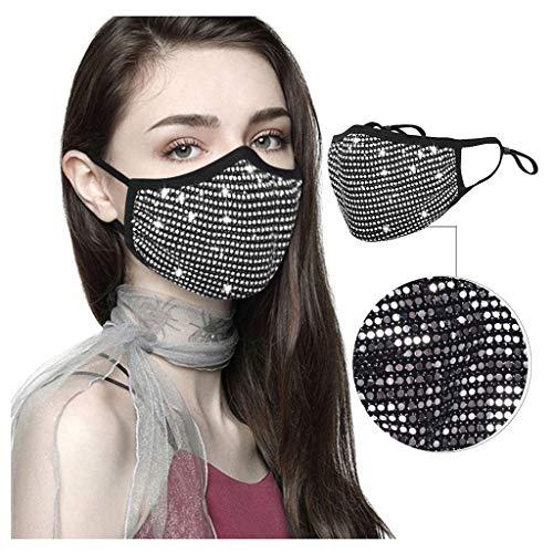LIEIKIC Damen Halloween Maske, Mundschutz Halstuch Glitzer Waschbar Wiederverwendbar Atmungsaktive Multifunktionstuch für Abend Party (I)