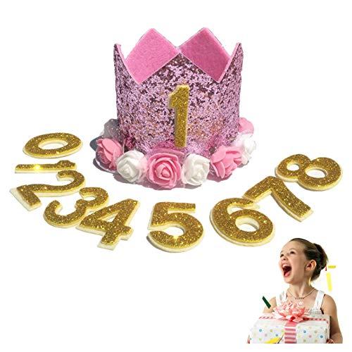APRRMLIZW Krone Baby Geburtstagskrone Birthday Crown Baby Stirnband Prinzessin Krone Hut Haarband Prinzessin Krone Baby Haarschmuck Krone mädchen Geburtstag Mit Austauschbaren Nummern 0-8(11 Stück)