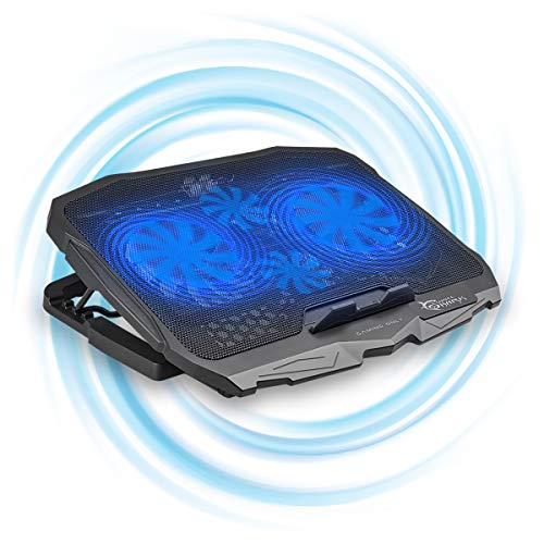 White Shark CP-25 Ice Warrior Gaming Laptop Cooling Pad, Quiet Fan Mat, Powerful 1500RPM, LED Lighting, Lightweight, Portable, 2 USB Ports for Laptops Up to 17.5'