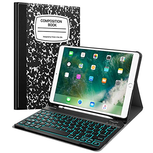 Fintie Keyboard Case with Pencil Holder for iPad Air 3 10.5 2019/iPad Pro 10.5' 2017- SlimShell Stand Cover w/Magnetically Detachable [7 Color Backlight] Wireless Bluetooth Keyboard, Composition Book