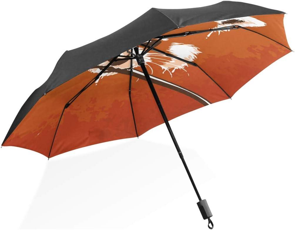 Under Max 61% OFF blast sales Orange Painting Panda Bear Foldable Umbrella Protection UV Foldi