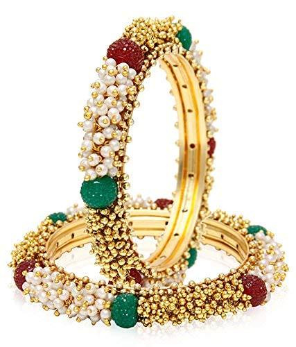 Efulgenz Modeschmuck Indische Bollywood 14 Karat vergoldet Kunstperlen Armband Armreif Set (2 Stück) - 2.40