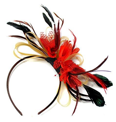 Tocado con cintas doradas, rejilla naranja y plumas, para asistir a bodas u otros eventos importantes