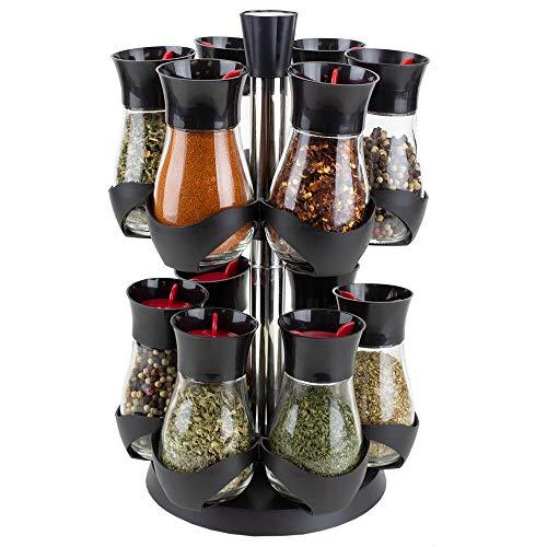Home Basics Organizador giratorio de 12 tarros de dos niveles para especias giratorias, hierbas, condimentos y encimeras de cocina