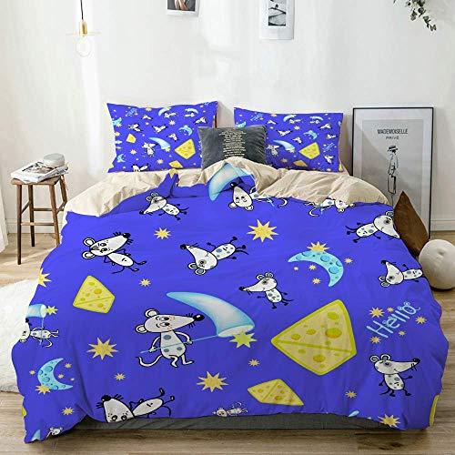 Juego de funda nórdica beige, patrón de estrellas de luna de ratón sobre fondo azul, juego de cama decorativo de 3 piezas con 2 fundas de almohada de fácil cuidado, antialérgico, suave y liso