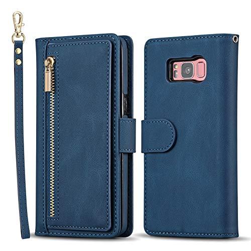 QLTYPRI Hülle für Samsung Galaxy S8, Premium Leder Handyhülle mit Große Kapazität Kartenfach Ständer Multifunktionale Schutzhülle Kompatibel mit Samsung Galaxy S8 - Blau