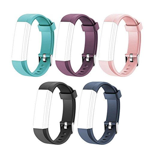 Heckia ID115 U Wristband, New Material Replacement Wristbands Strap for ID115 U Fitness Tracker,Fashionable Smart Watch - Green,Black,Pink,Blue and Purple