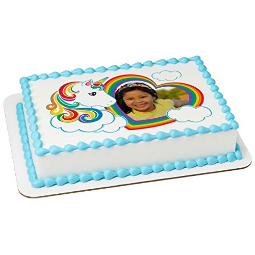 Magical Unicorn Photo Frame Add your Own Picture Edible Frosting Image 1/4 sheet Cake Topper