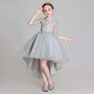Luxury Pompon Princess Dress Girls Bouquet Beaded Gray Yarn Short in Front Long Section of Flower Girl Dresses Little Girls Host Costumes Western Style Piano Performances ryq