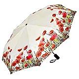 VON LILIENFELD Regenschirm Taschenschirm Mohnblumen Windfest Auf-Zu-Automatik Leicht Stabil Kompakt Blüten