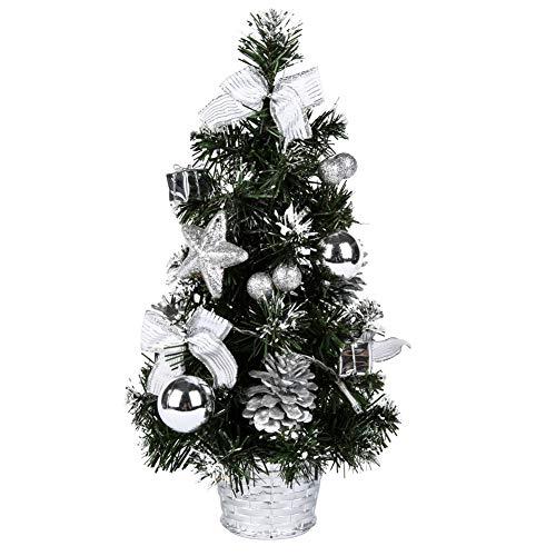 Sawpy Künstlicher Weihnachtsbaum 40CM Tannenbaum, Mini Plastik Weihnachtsbaum Christbaum Künstlich, Künstliche Weihnachtsbäume LED Baum mit Beleuchtung für Weihnachtsdeko Tischdeko Büro Miniatur Deko