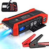 89800mAh 12V Multifunción Arrancador de Coche con 4 Puertos USB Cargador Portátil de Batería de Coche para Motocicletas, Barcos, Caravanas (Impermeable/SOS/LED) - Rojo