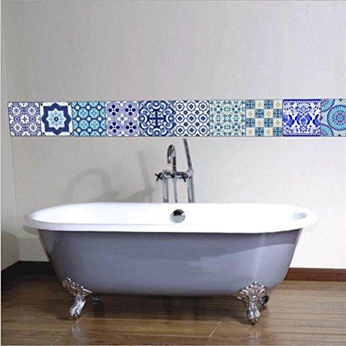 MINRAN DECOR BJ Art de tuiles Mural - Adhésif carrelage   Sticker Autocollant Carrelage - Mosaïque carrelage Mural Salle de Bain et Cuisine   - 20x20 cm - 10 pièces TS010