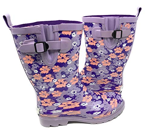 Forever Young Women's Bright Floral Print Rubber Rain Boots, 11, Purple